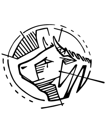 Ilustración de vector dibujado a mano o dibujo a tinta de una cabeza de una vaca. Foto de archivo - 85048995