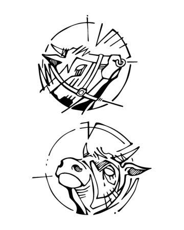 Hand getekende vector illustratie of inkt tekening van sommige koeienkoppen. Stockfoto - 85048994