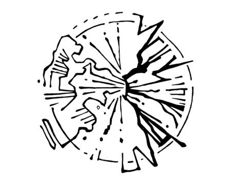手描きのベクトル図や火山噴火の図面。  イラスト・ベクター素材