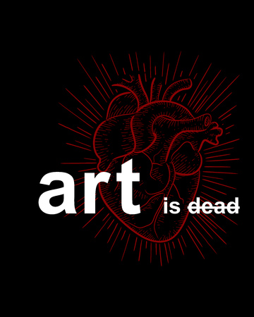 Hand drawn illustration or drawing of the phrase: Art is dead and a red human heart