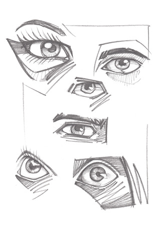 Hand drawn pencil illustration or sketch drawing of different human eyes