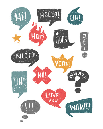 Hand drawn illustration or ink drawing of some speech bubbles and symbols Ilustracja