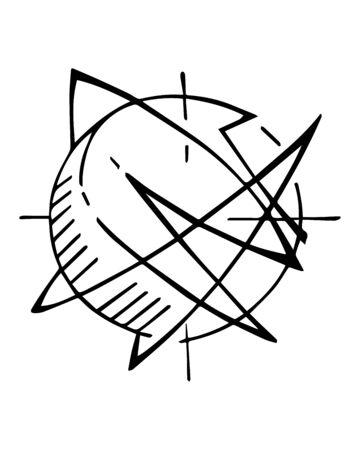 Hand drawn illustration or ink drawing of an abstract planet or atom symbol Ilustração