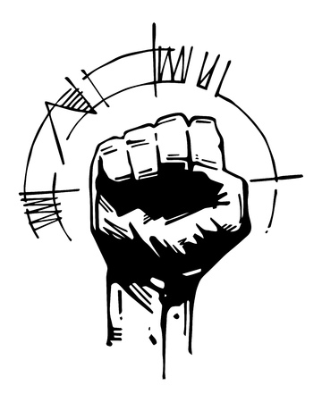 Hand drawn vector illustration or ink drawing of a human fist