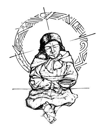 Hand drawn vector illustration or drawing of an indigenous poor woman
