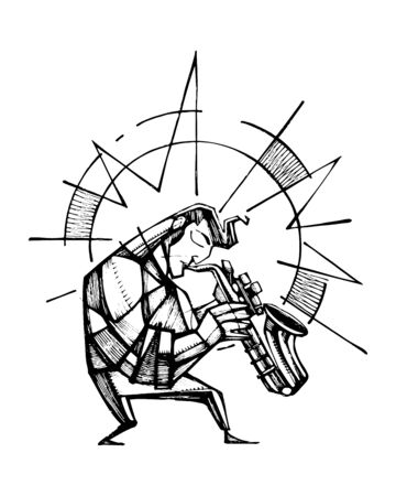 Hand drawn illustration  of a saxophone player