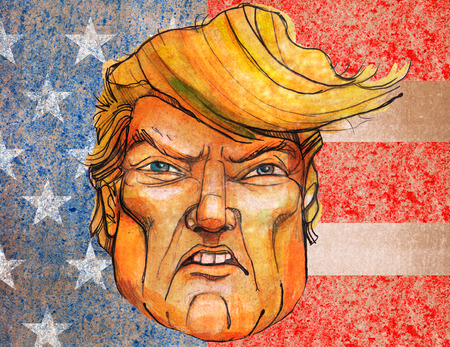 SEP 06, 2017: Illustration of a portrait of President Donald Trump with the United States flag as background Sajtókép