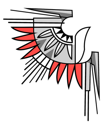 Vector illustration or drawing of an abstract eagle symbol in indigenous style Ilustração