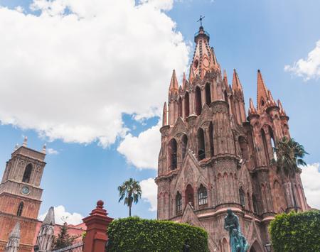 SAN MIGUEL DE ALLENDE, GUANAJUATO  MEXICO - 06 22 2017: Traditional Saint Michael Archangel temple in San Miguel de Allende Guanajuato Mexico