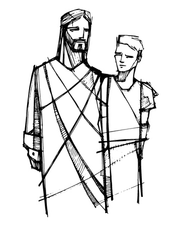 Hand drawn vector illustration or drawing of Jesus Christ walking with young man