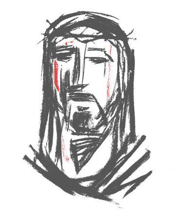 Hand drawn vector illustration or drawing of Jesus Christ Face at his Passion Stock Illustration - 88655625