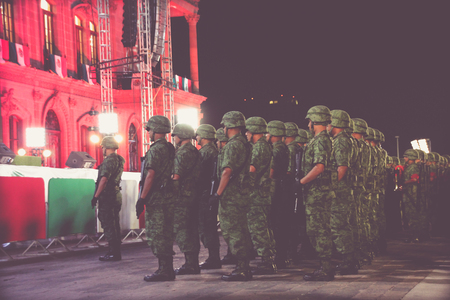 MONTERREY, NUEVO LEON / MEXICO - 09 15 2017: Mexican soldiers at mexican independence celebration at municipal palace in Monterrey Mexico Editorial