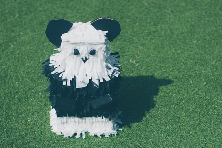 Photograph of a panda mexican pinata handcraft