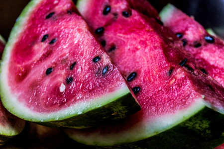 Close up photograph of some watermelon slices Lizenzfreie Bilder