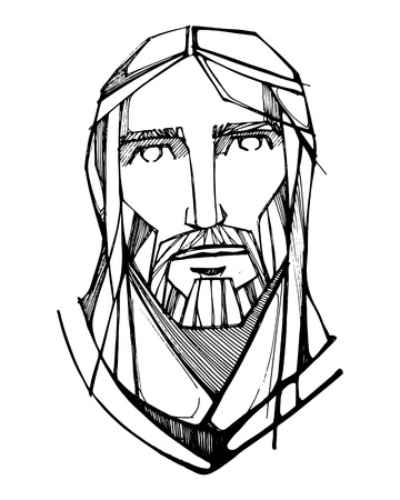 Hand drawn vector ink illustration or drawing of Jesus Christ Face