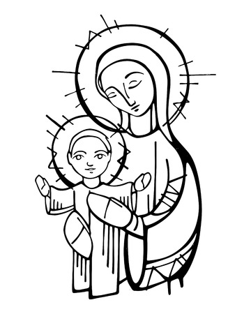 Hand drawn vector ink illustration or drawing of Virgin Mary and baby Jesus Christ Stock Illustratie