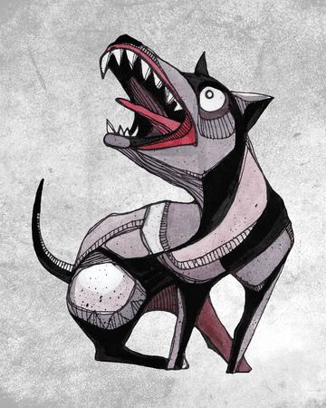 Hand drawn watercolor illustration or drawing of a dog 版權商用圖片