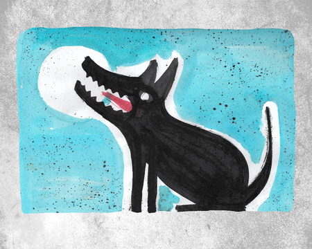 Hand drawn watercolor illustration or drawing of a dog and a moon 版權商用圖片