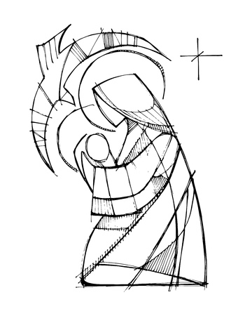 Hand drawn vector illustration or drawing of Virgin Mary with Baby Jesus and Holy Spirit