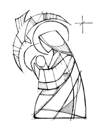 Disegnata a mano illustrazione vettoriale o disegno della Vergine Maria con Gesù Bambino e lo Spirito Santo