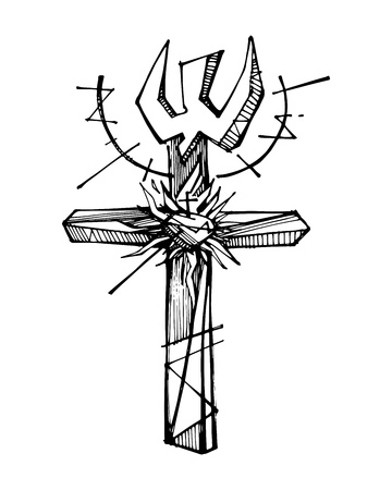 Hand drawn vector illustration or drawing of a religious Cross symbol