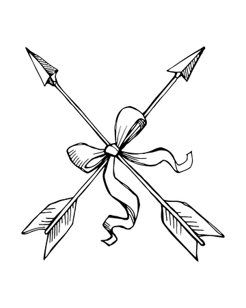 Hand drawn vector ink illustration or drawing of a pair of retro arrows  向量圖像