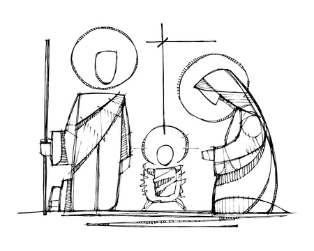 Hand drawn vector ink illustration or drawing of Jesus, Virgin Mary and Saint Joseph at Nativity Vettoriali