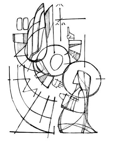 Ręcznie rysowane wektor atrament ilustracja lub rysunek Matki Boskiej i Gabriel Anioł w scenie Zwiastowania
