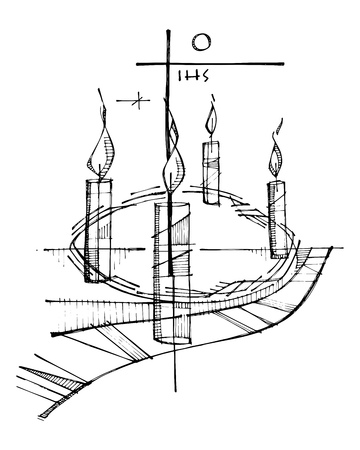 Hand drawn vector ink illustration or drawing of an Advent crown, candles and religious Christian Cross
