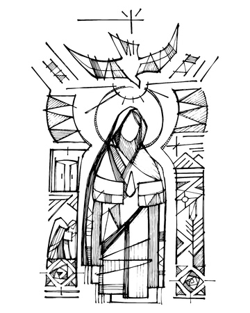 Hand drawn vector ink illustration or drawing of Virgin Mary, Holy Spirit and religious Christian symbols 일러스트