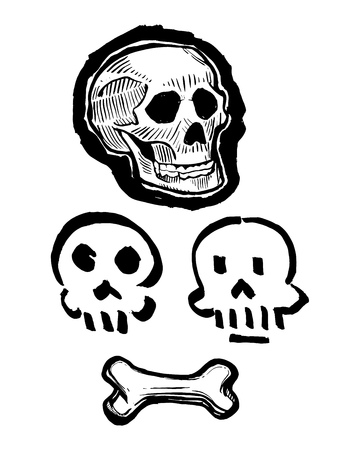 Hand drawn vector ink illustration or drawing of some human skulls and a bone