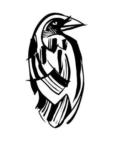 Hand drawn vector ink illustration or drawing of a black raven