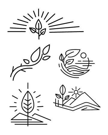 Hand drawn vector illustration or ink drawing of some vector nature symbols Illustration