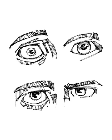 Hand drawn vector illustration or ink drawing of some human eyes Ilustração