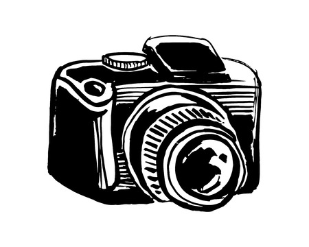 Hand drawn vector ink illustration or drawing of a reflex camera