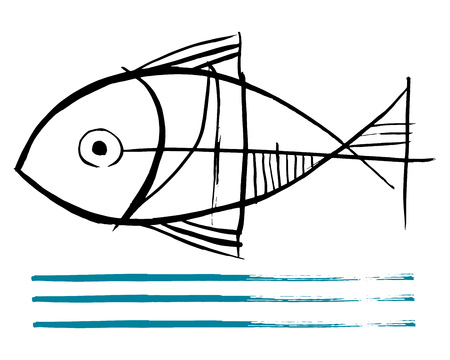 Hand drawn vector ink illustration or drawing of a fish and water