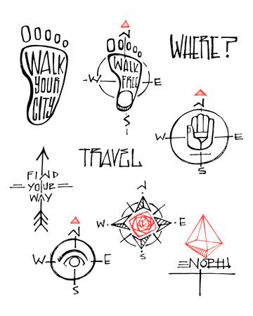 Hand drawn vector ink illustration or drawing of some travel symbols Illustration
