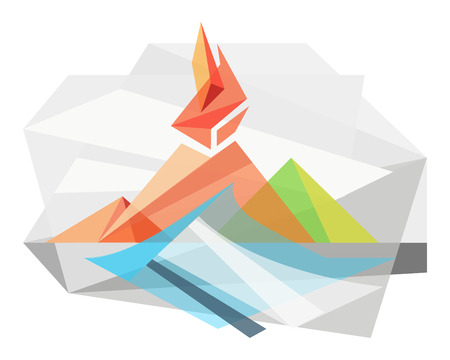Hand drawn vector illustration or drawing of an abstract geometric volcano and wave