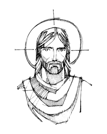 Hand drawn vector ink illustration or drawing of Jesus Christ face.