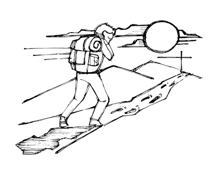 Hand drawn vector ink illustration or drawing of a Man with backpack following Jesus steps Çizim