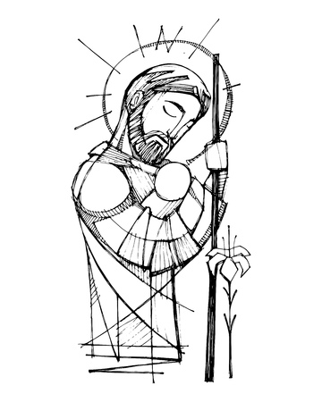 Hand drawn vector ink illustration or drawing of Saint Joseph and baby Jesus