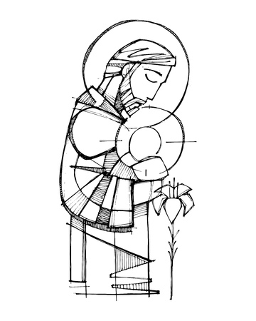Hand drawn vector ink illustration or drawing of Saint Joseph and baby Jesus. Illustration