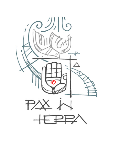 Hand drawn vector ink illustration or drawing of some religious christian symbols and phrase in Latin that means Peace on earth