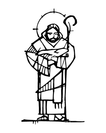 Hand drawn ink illustration or drawing of Jesus Christ Good Shepherd Иллюстрация