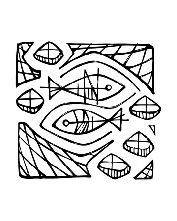 Hand drawn vector illustration or drawing of two fish and five breads religious illustration Ilustração