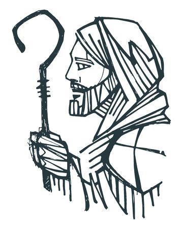 Hand drawn ink illustration or drawing of Jesus Christ Good Shepherd Ilustração
