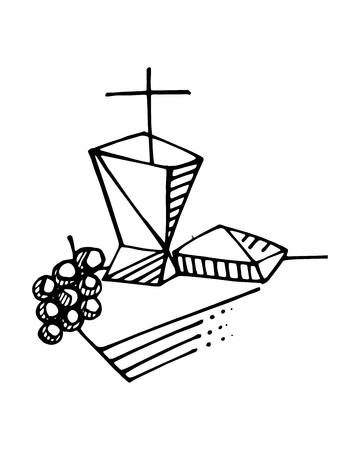 Hand drawn vector ink illustration or drawing of some Eucharist religious symbols