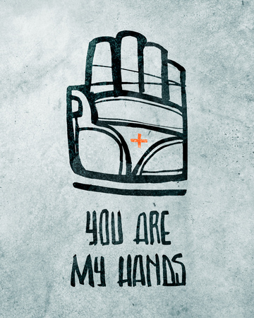 Hand drawn vector ink illustration of Jesus Christ Hand symbol and phrase: You are my Hands