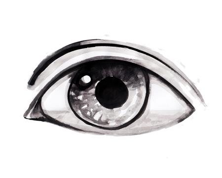 Hand drawn ink illustration or drawing of a human eye 版權商用圖片