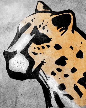 Hand drawn illustration or drawing of a cheeta head